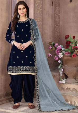 Embroidered Velvet Punjabi Suit in Navy Blue