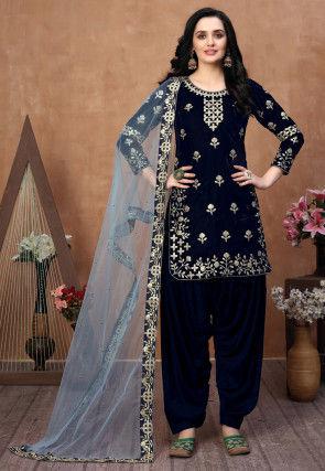 Embroidered Velvet Punjabi Suit in Navy Blue