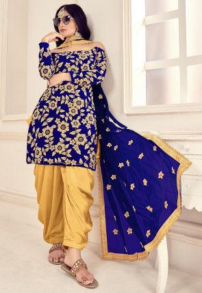 Embroidered Velvet Punjabi Suit in Royal Blue