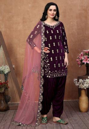 Embroidered Velvet Punjabi Suit in Wine