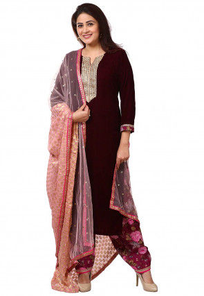 Embroidered Velvet Punjabi Suit in Wine