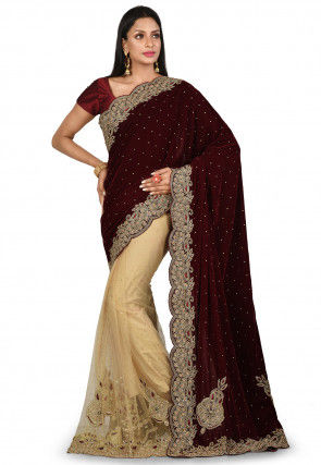 Embroidered Velvet Saree in Maroon and Beige