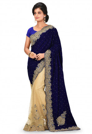 Embroidered Velvet Saree in Navy Blue and Beige
