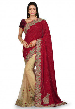 Embroidered Velvet Saree in Red and Beige