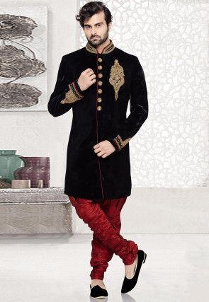 Embroidered Velvet Sherwani in Black