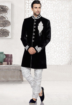 Embroidered Velvet Sherwani in Black