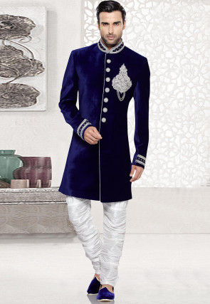 Embroidered Velvet Sherwani in Dark Blue
