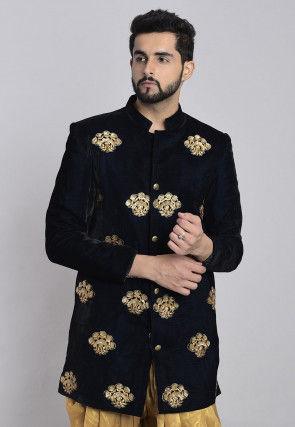 Embroidered Velvet Sherwani in Navy Blue