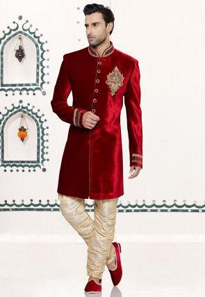 Embroidered Velvet Sherwani in Red