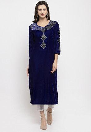 Embroidered Velvet Straight Kurta in Navy Blue