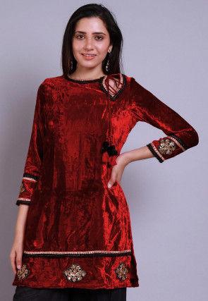 Embroidered  Velvet Straight Kurti in Red