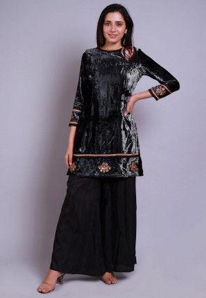 Embroidered Velvet Straight Kurti Set in Black