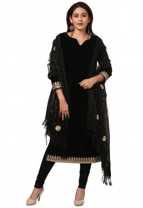 Embroidered Velvet Straight Suit in Black