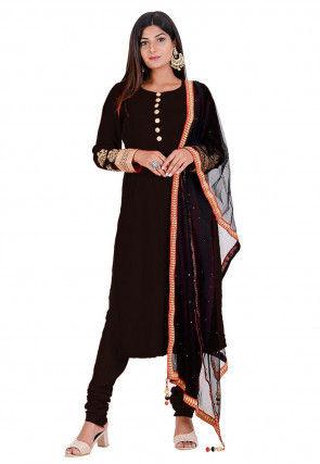 Embroidered Velvet Straight Suit in Dark Brown