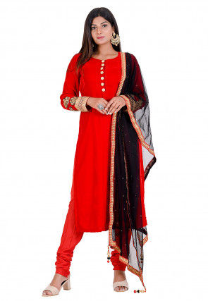 Embroidered Velvet Straight Suit in Red