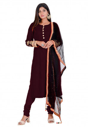 Embroidered Velvet Straight Suit in Wine