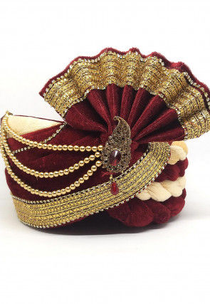 Embroidered Velvet Turban in Maroon and Beige