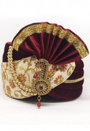 Embroidered Velvet Turban in Maroon and Cream