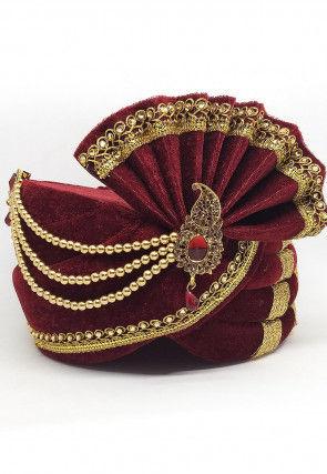 Embroidered Velvet Turban in Maroon