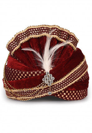 Embroidered Velvet Turban in Maroon