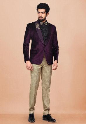 Embroidered Velvet Tuxedo in Wine