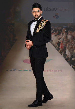 Embroidered Velvet Tuxedo Set in Black