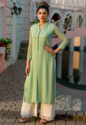 Embroidered Vicose Georgette Straight Kurta in Light Green