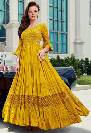 Embroidered Viscose Abaya Style Suit in Mustard