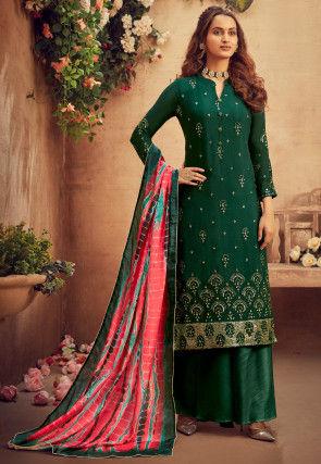 Embroidered Viscose Chiffon Pakistani Suit in Dark Green