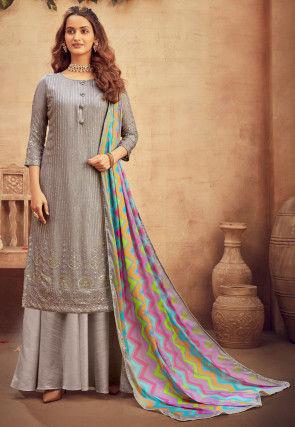 Embroidered Viscose Chiffon Pakistani Suit in Grey