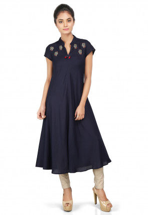 Embroidered Viscose Cotton A Line Kurta Set in Navy Blue