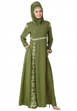 Embroidered Viscose Cotton Abaya in Light Olive Green