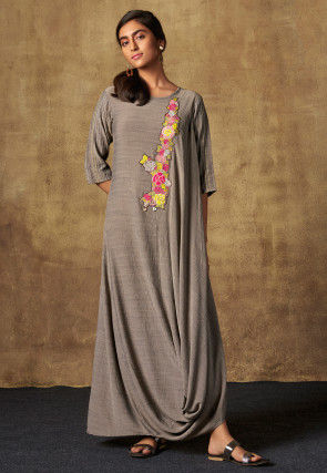 Embroidered Viscose Cowl Style Maxi Dress in Grey