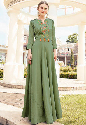 Embroidered Viscose Flared Gown in Dusty Green