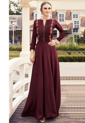 Embroidered Viscose Flared Gown in Maroon