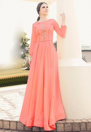 Embroidered Viscose Flared Gown in Peach