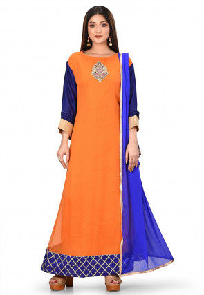 Embroidered Viscose Georgette Abaya Style Suit in Orange