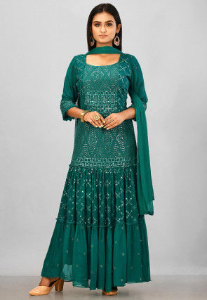 Embroidered Viscose Georgette Abaya Style Suit in Teal Green
