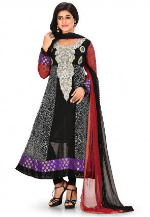 Embroidered Viscose Georgette Anarkali Suit in Black