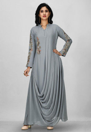 Embroidered Viscose Georgette Gown in Grey