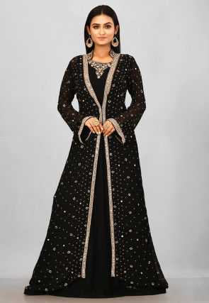 Embroidered Viscose Georgette Jacket Style Gown in Black