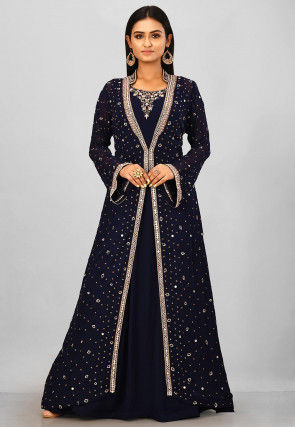 Embroidered Viscose Georgette Jacket Style Gown in Navy Blue