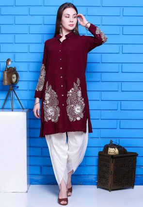 Embroidered Viscose Georgette Kurti Set in Maroon