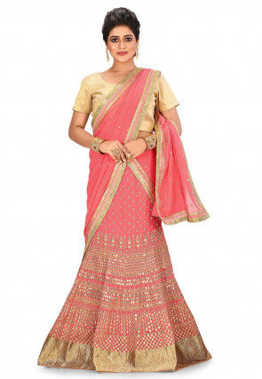 Embroidered Viscose Georgette Lehenga in Coral Pink