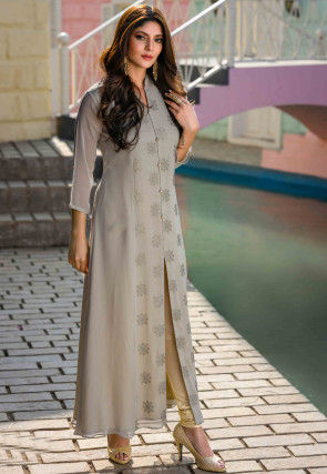 Embroidered Viscose Georgette Long Kurta in Grey