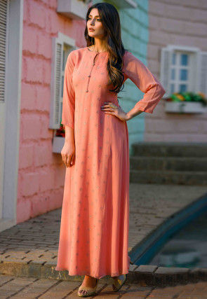 Embroidered Viscose Georgette Long Kurta in Orange