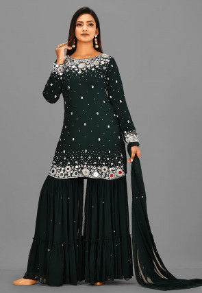 Embroidered Viscose Georgette Pakistani Suit in Dark Green