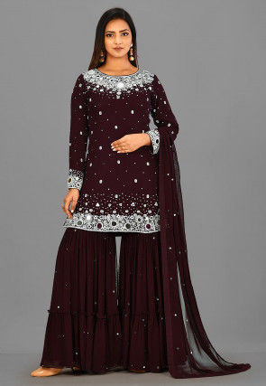 Embroidered Viscose Georgette Pakistani Suit in Maroon