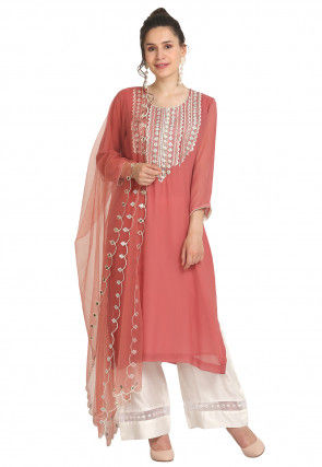 Embroidered Viscose Georgette Pakistani Suit in Peach