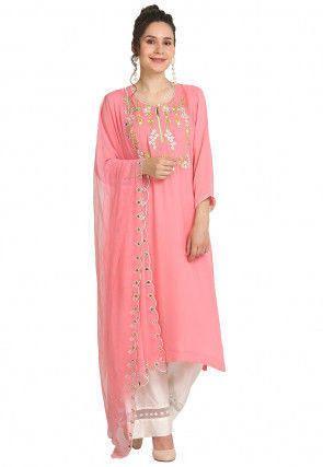 Embroidered Viscose Georgette Pakistani Suit in Pink